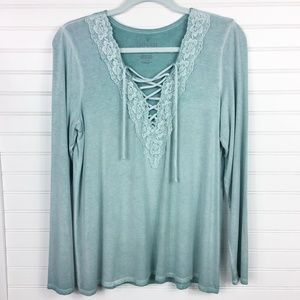 AEO Soft & Sexy T Lace Up V-Neck LS